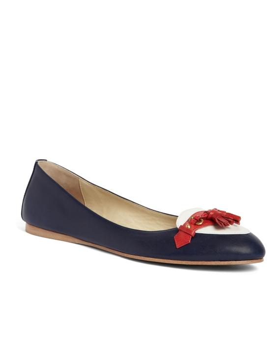 Calfskin Tassel Ballet Flat Navy
