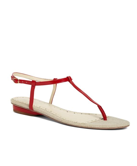 Patent Kidskin T-Strap Sandal Red