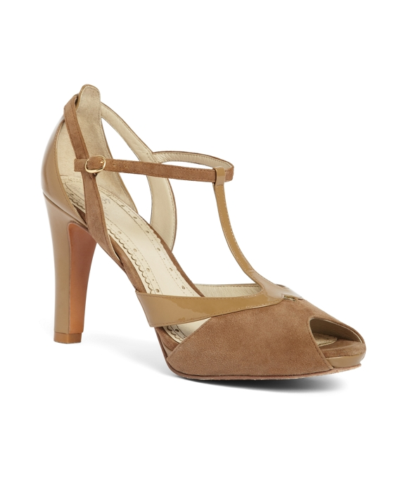 Suede Peep Toe T-Strap Light Brown
