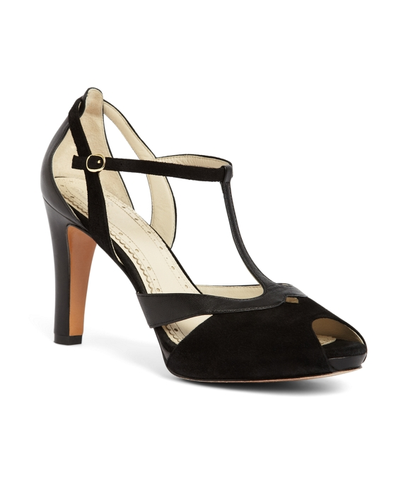 Calfskin and Suede Peep Toe T-Strap Heel Black