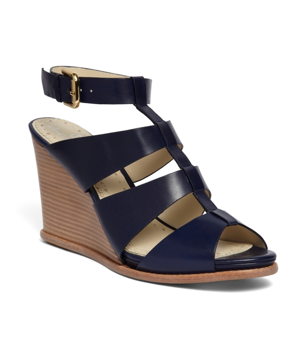 Calf Ankle Strap Wedge Navy