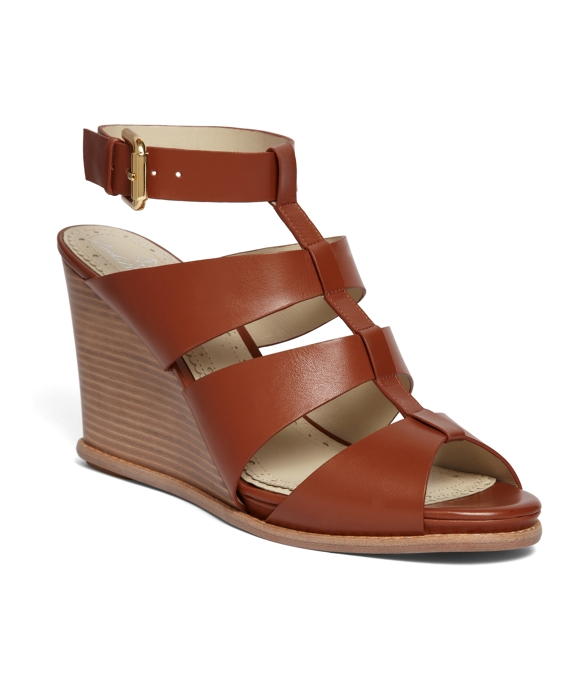 Calf Ankle Strap Wedge Cognac