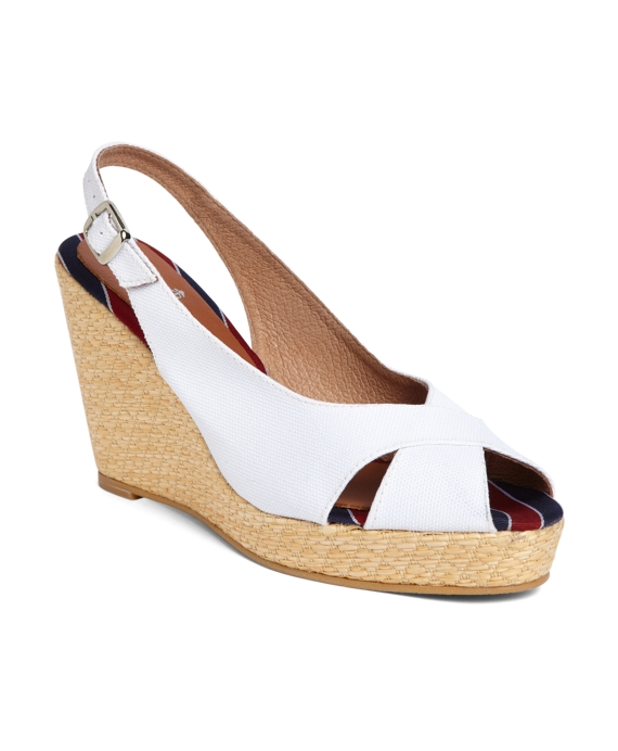 Cotton Canvas Slingback Wedge White