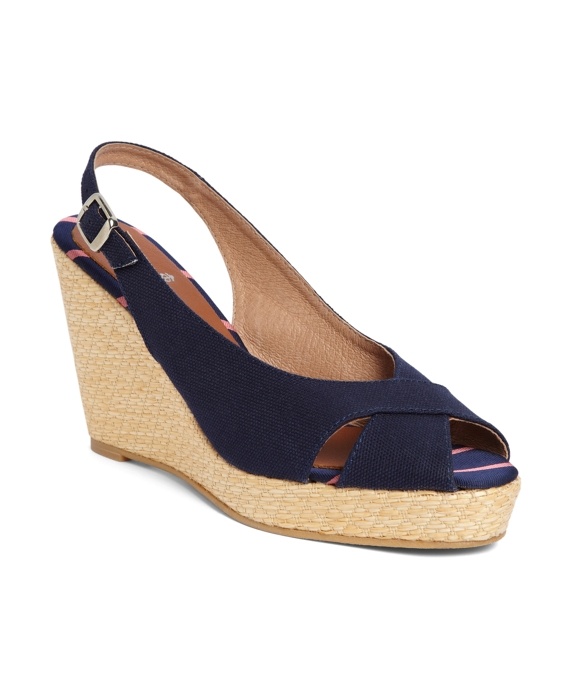 Cotton Canvas Slingback Wedge Navy