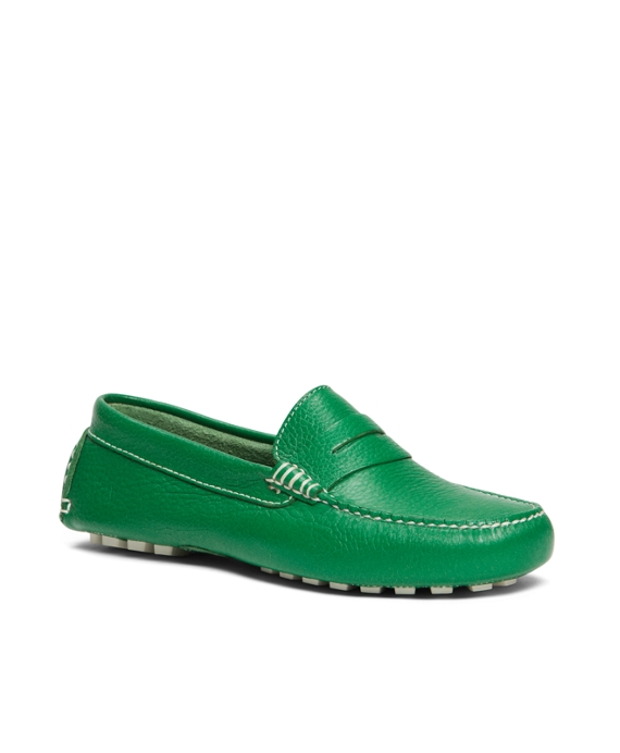 Pebbled Calfskin Driving Moccasin Green
