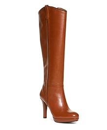 Calfskin Trim Heeled Boots