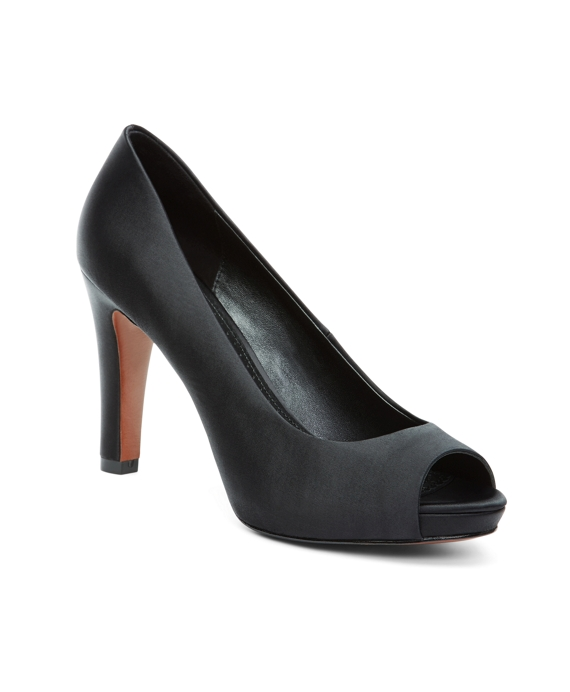 Satin Open Toe Pumps Black