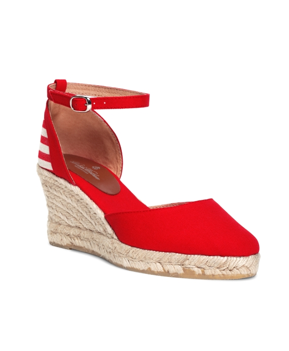 Stripe Wedge Espadrilles Red