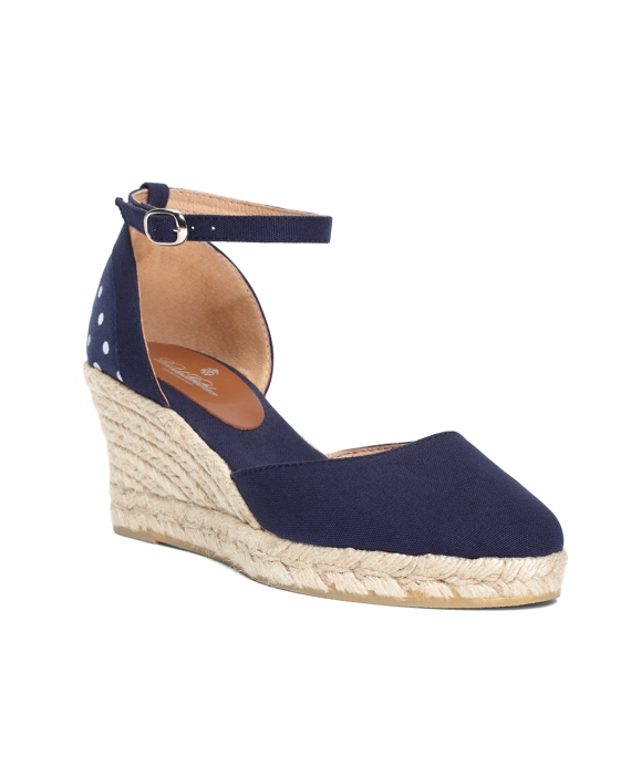 Dotted Wedge Espadrilles Navy