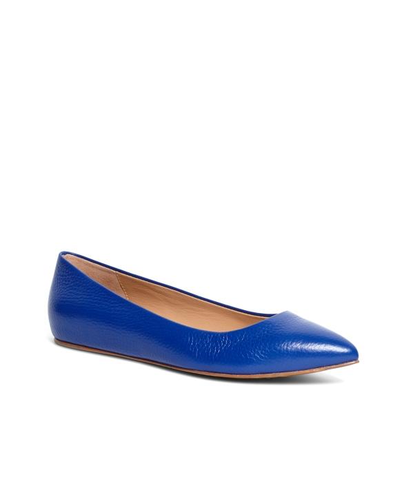 Calfskin Pointed Ballet Flats Blue