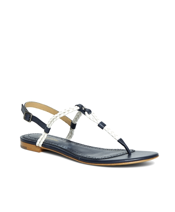 Braided Calfskin Sandals Navy-White