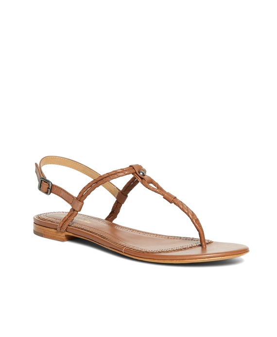 Braided Calfskin Sandals Cognac
