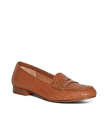 Woven Calfskin Penny Loafers