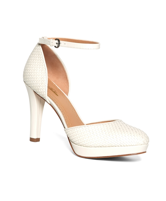 Woven Calfskin Ankle Strap Heels White