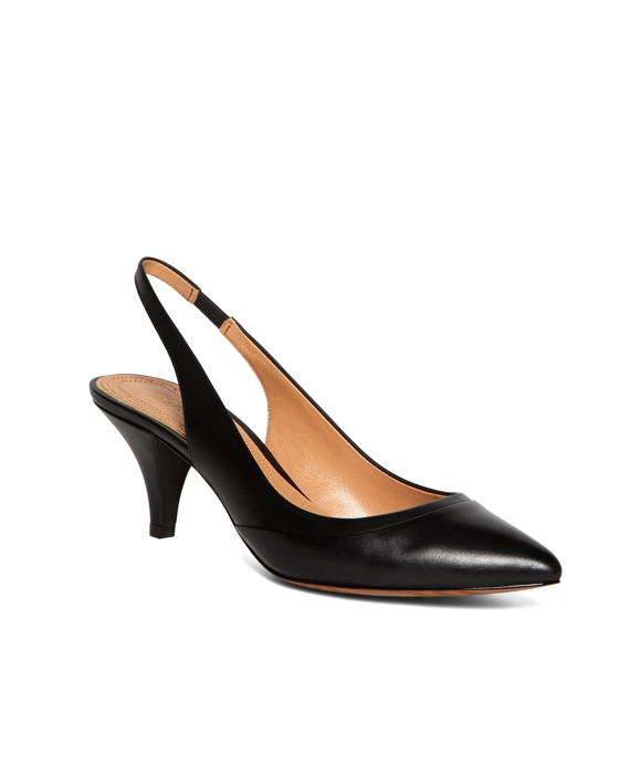 Calfskin Pointed Slingback Pumps Black