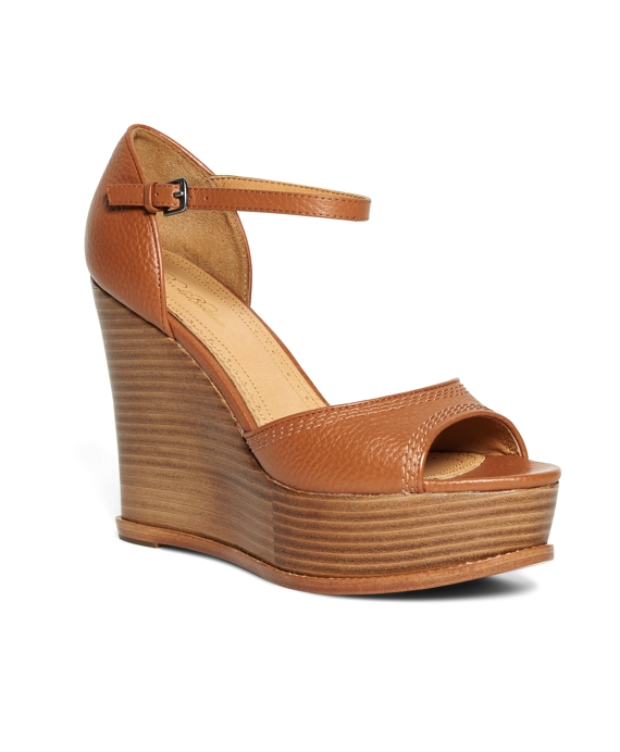 Tumbled Calfskin Wedge Heels Cognac