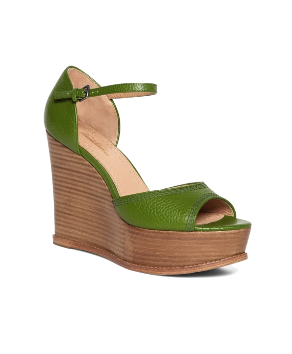 Tumbled Calfskin Wedge Heels Green