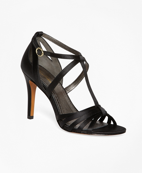 Satin High-Heeled Sandals Black