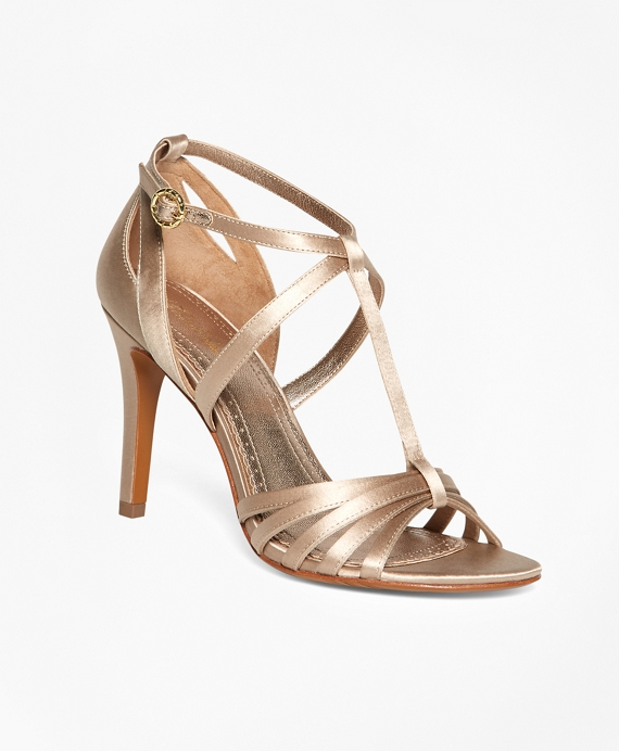 Satin High-Heeled Sandals Champagne