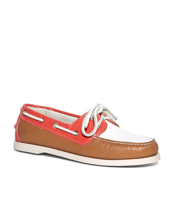 Color-Block Calfskin Boat Shoes Coral-White-Tan