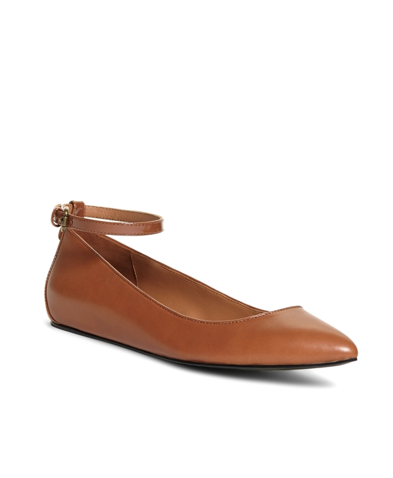 Leather Ankle Strap Ballet Flats Cognac