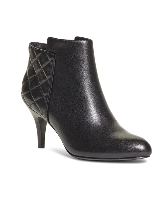Quilted Calfskin Heeled Booties Black