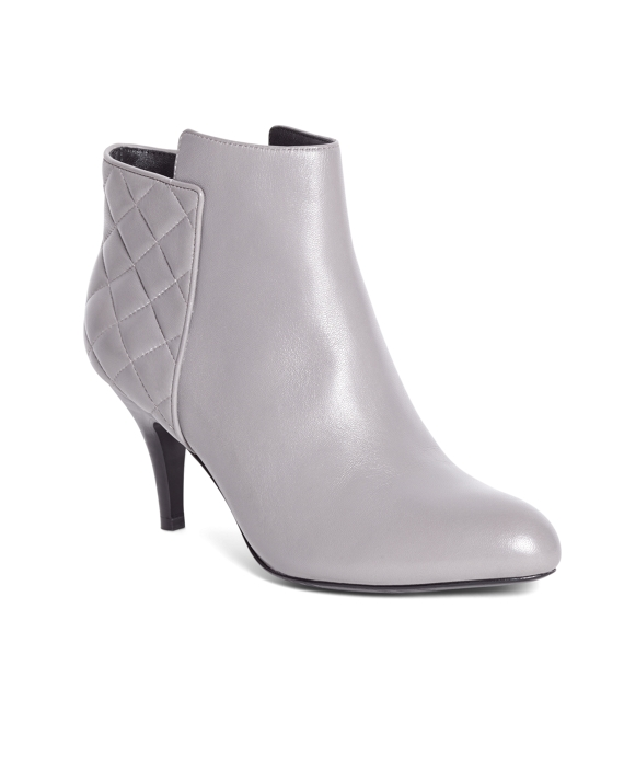Quilted Calfskin Heeled Booties Grey