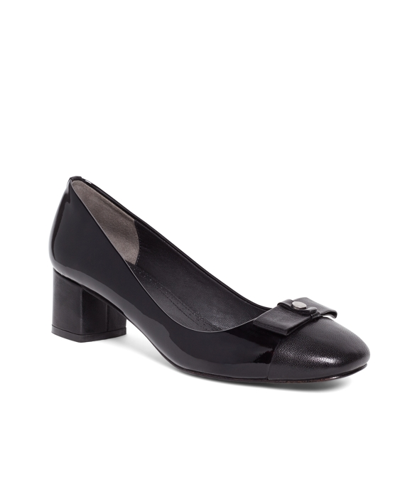 Women's Black Low Stacked Heels with Bow Detail | Brooks Brothers