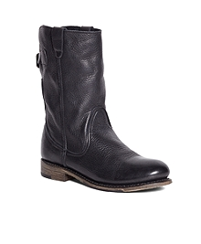 Vintage Shoe Company Short Leather Buckle Boots