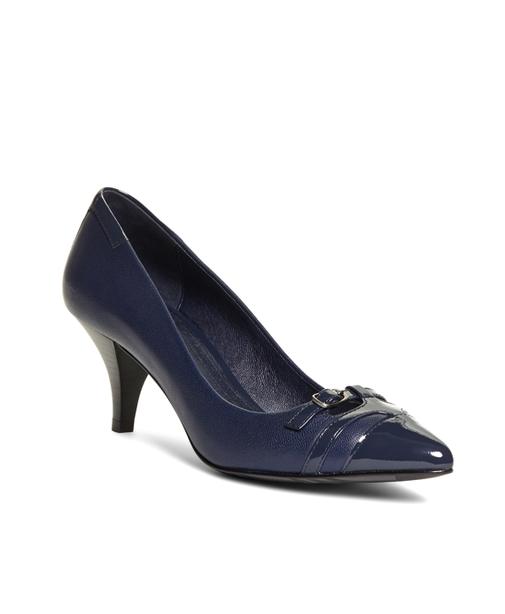 Pointed Leather Pumps Navy