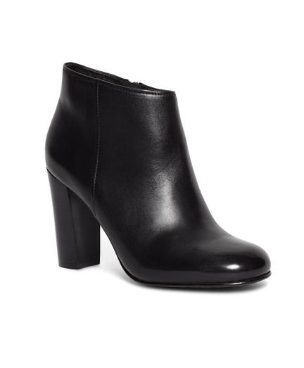 Short Leather Stacked Heel Booties