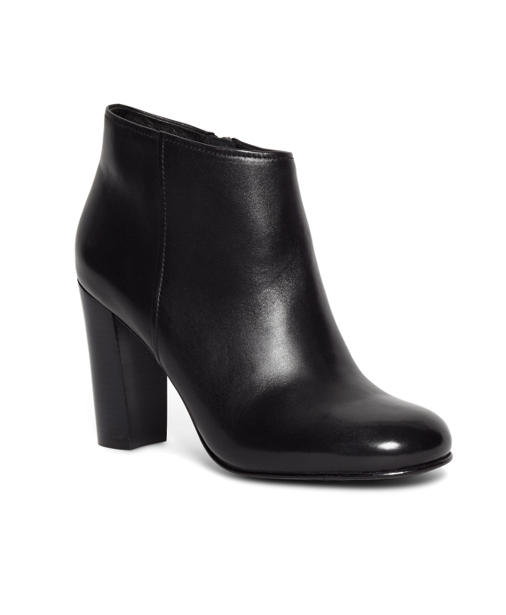 Short Leather Stacked Heel Booties Black