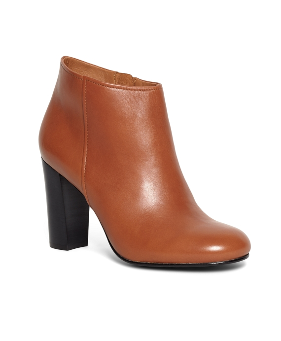 Short Leather Stacked Heel Booties Cognac