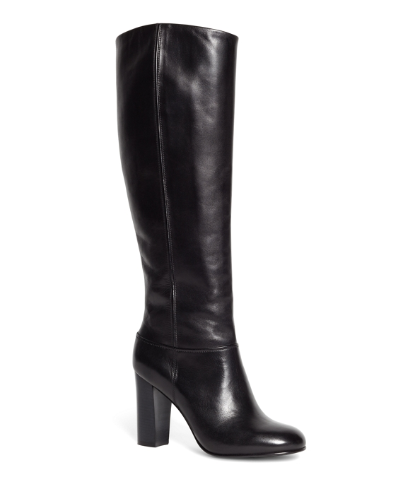 Tall Leather Stacked Heel Boots Black
