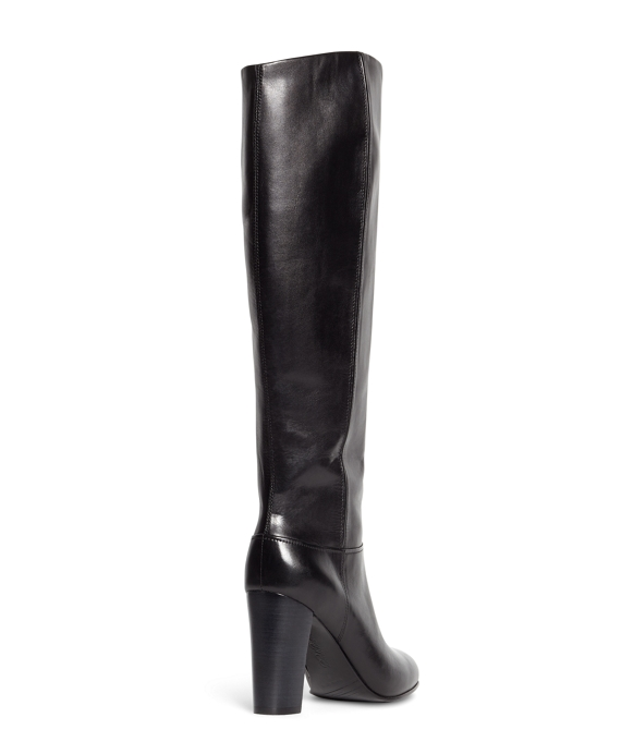 Women's Tall Black Leather Stacked Heel Boots | Brooks Brothers