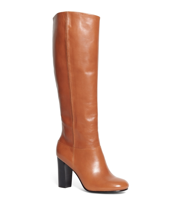 Tall Leather Stacked Heel Boots Cognac