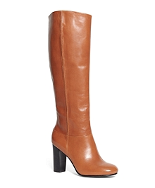 Tall Leather Stacked Heel Boots