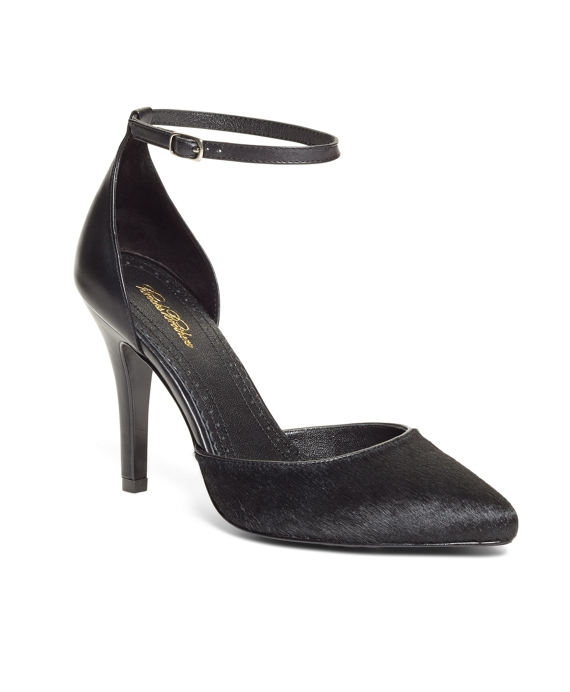 Haircalf Pumps with Ankle Strap Black