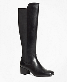Elastic Back Leather Boots