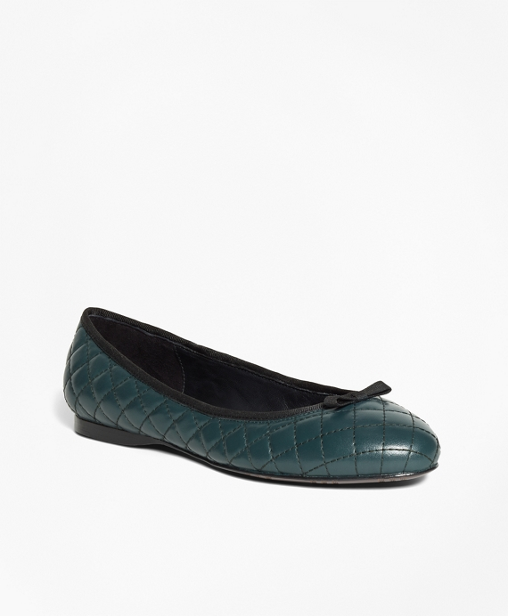Quilted Leather Flats Green