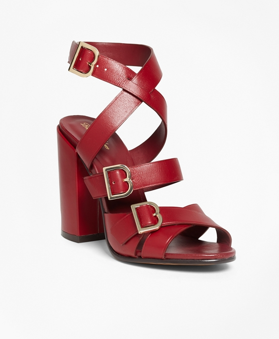Multi Strap Stacked Heel Sandals