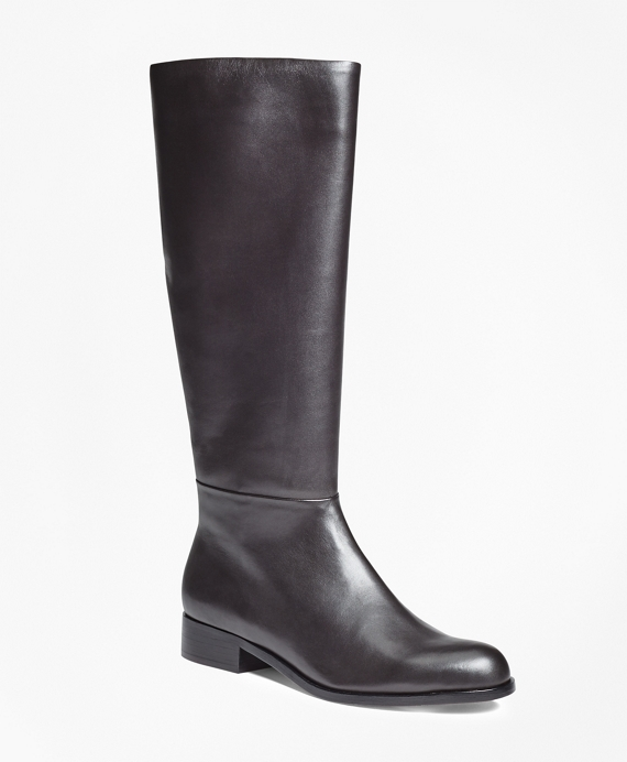 Tall Leather Boots Dark Brown