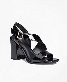Patent Leather Open-Toe Stacked Sandals