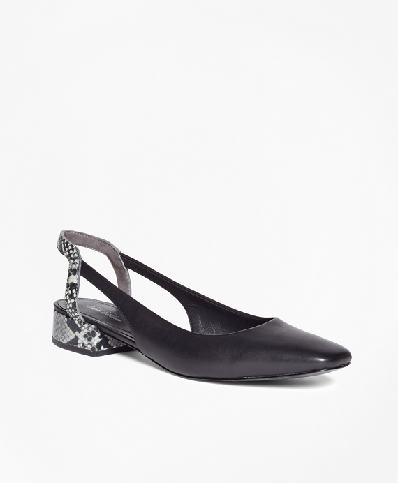 Leather Square-Toe Slingbacks