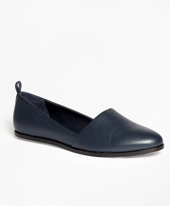 Leather Round-Toe Flats Navy
