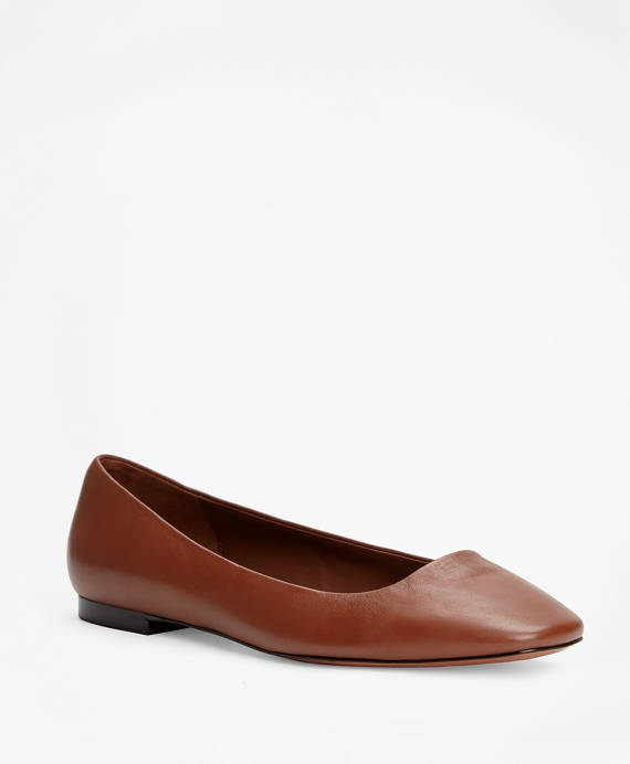Leather Square-Toe Flats