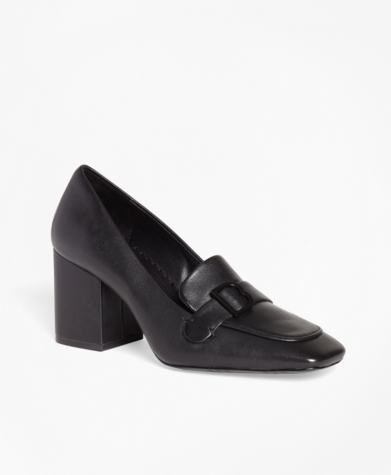 Leather Loafer Pumps Black