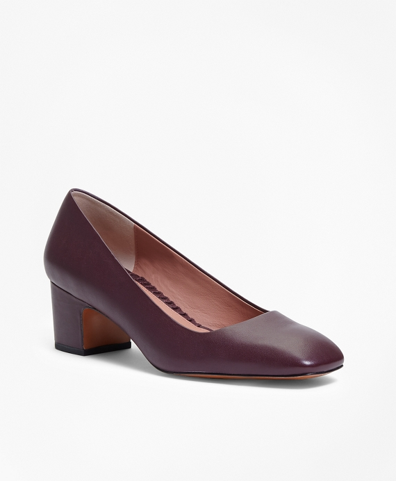 Square-Toe Leather Pumps Burgundy
