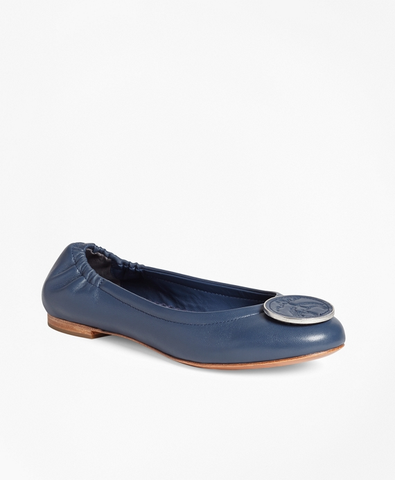 Logo Medallion Leather Flats