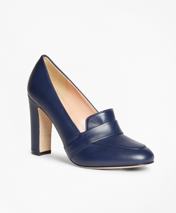 Leather Loafer Pumps Navy